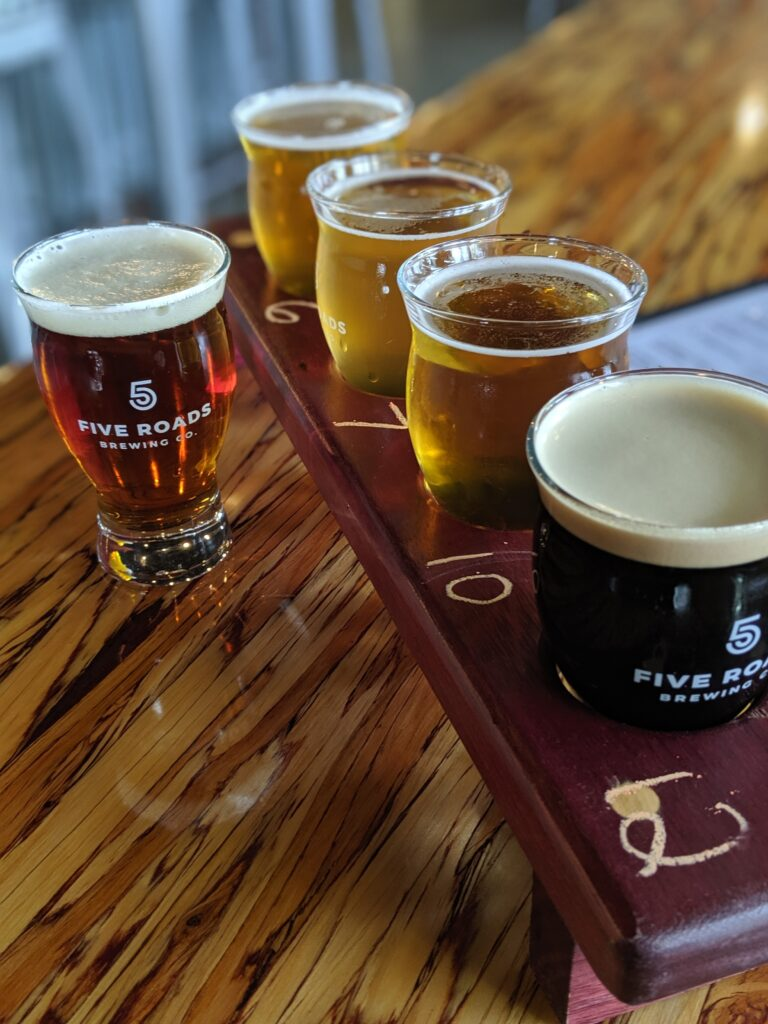 flight of beers at five roads brewing company_christinachandra.com