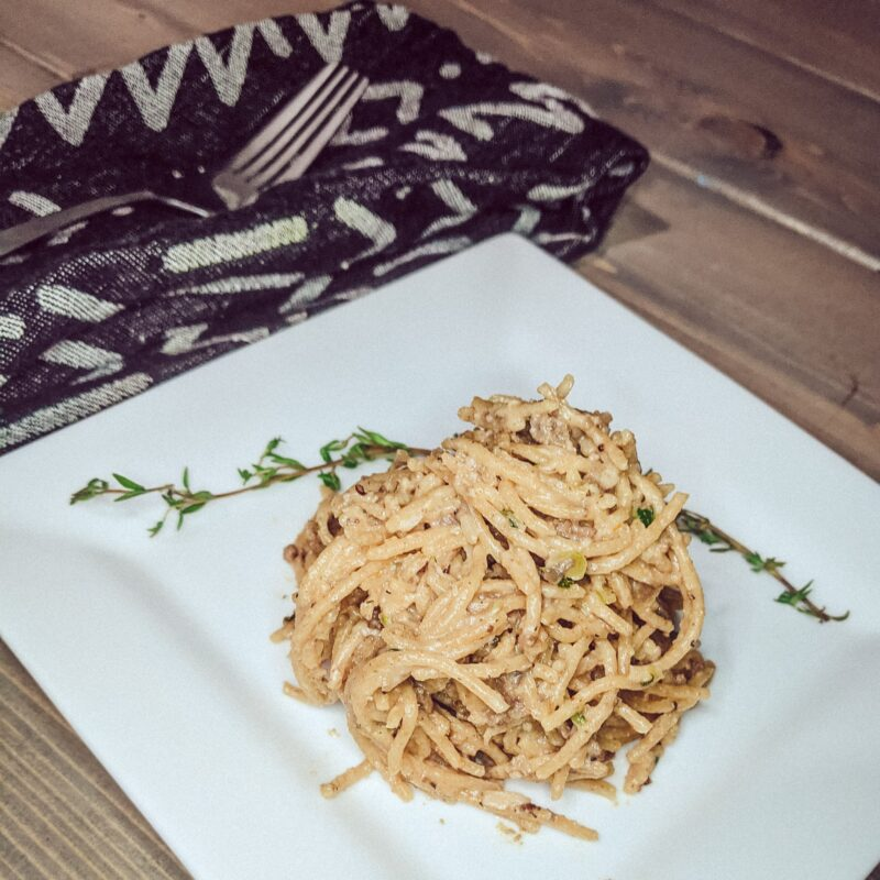 creamy spaghettini with meat_christinachandra.com